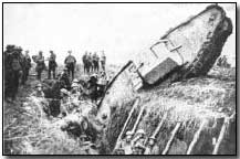 British Mark I tank stuck in captured German second-line trench at Cambrai